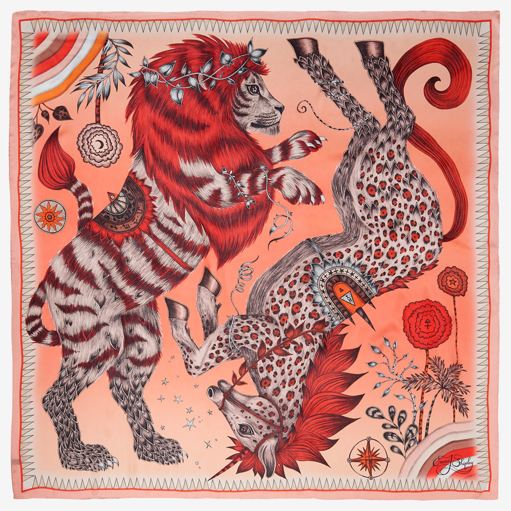 The beautiful lion and unicorn take centre stage in Emma J Shipley's Caspian Silk Chiffon Scarf design