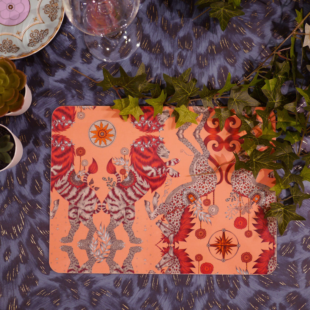 Caspian placemat with lions and unicorns in a coral colour by Emma J Shipley