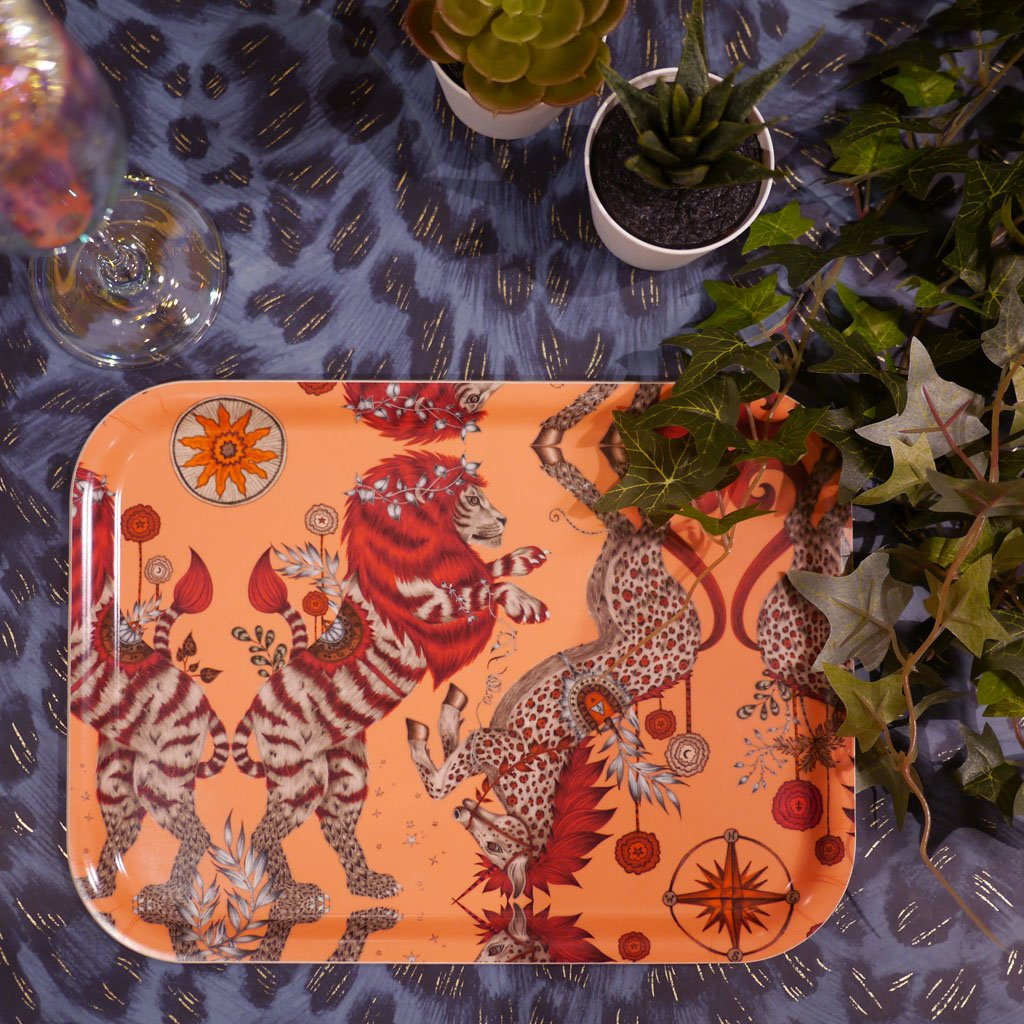 Emma J Shipley's Caspian small tray, with a fantasy nature inspired design.