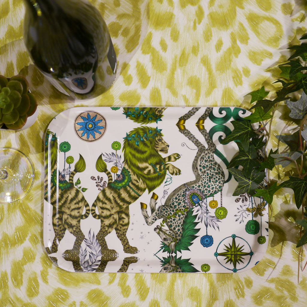 Emma J Shipley's small caspian birch wood tray, with a colourful design featuring magical animals