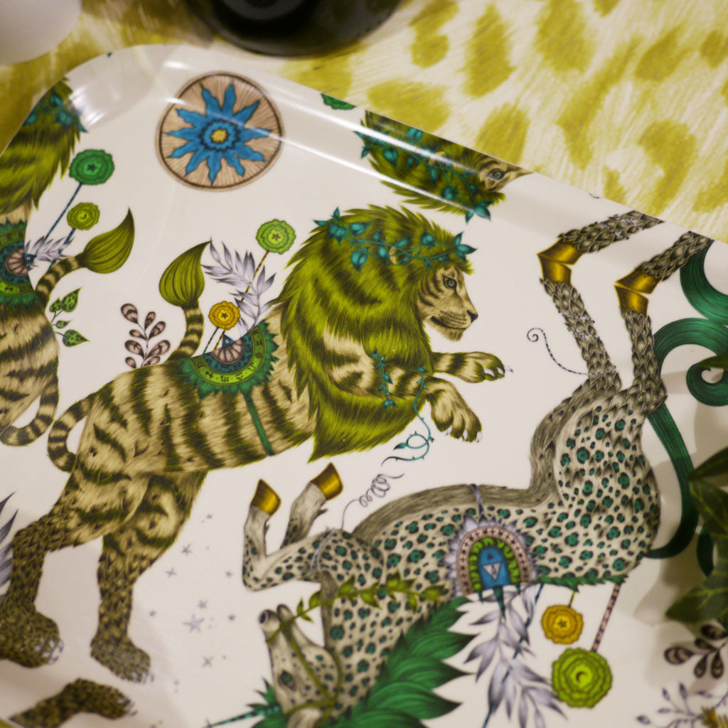 Detail of Emma J Shipley's Caspian tray in a lime green colour