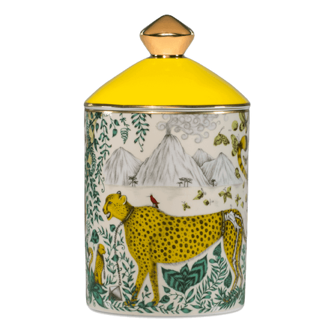 The Cheetah Candle features the endangered animal on the bone china vessel - designed by Emma J Shipley with scents created by Bahoma, this diffuser features notes of Vetiver & Lemon Zest