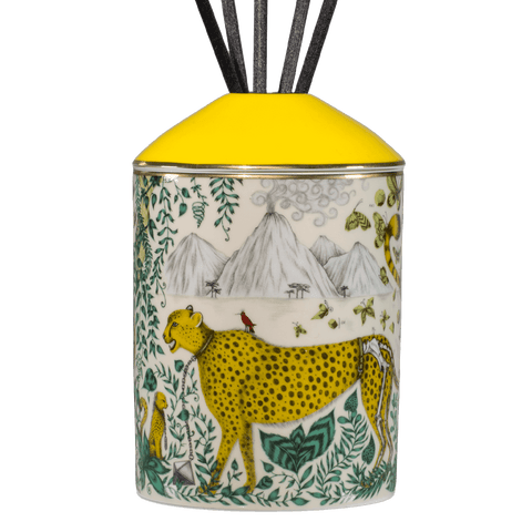 The Cheetah Diffuser features the endangered animal on the bone china vessel - designed by Emma J Shipley with scents created by Bahoma, this diffuser features notes of Vetiver & Lemon Zest