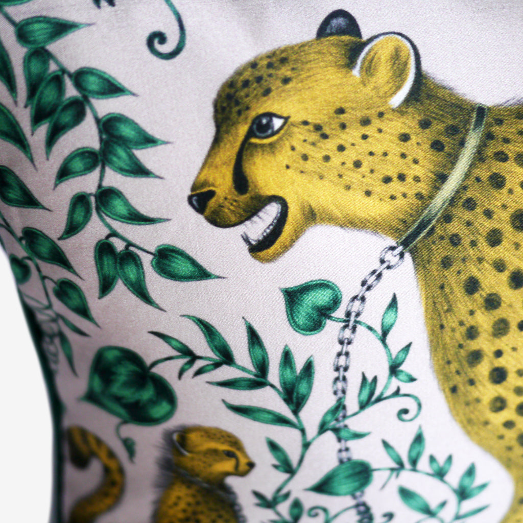 New double sided bolster cushion featuring the Cheetah design by Emma J Shipley, printed in luxurious silk and cotton blend