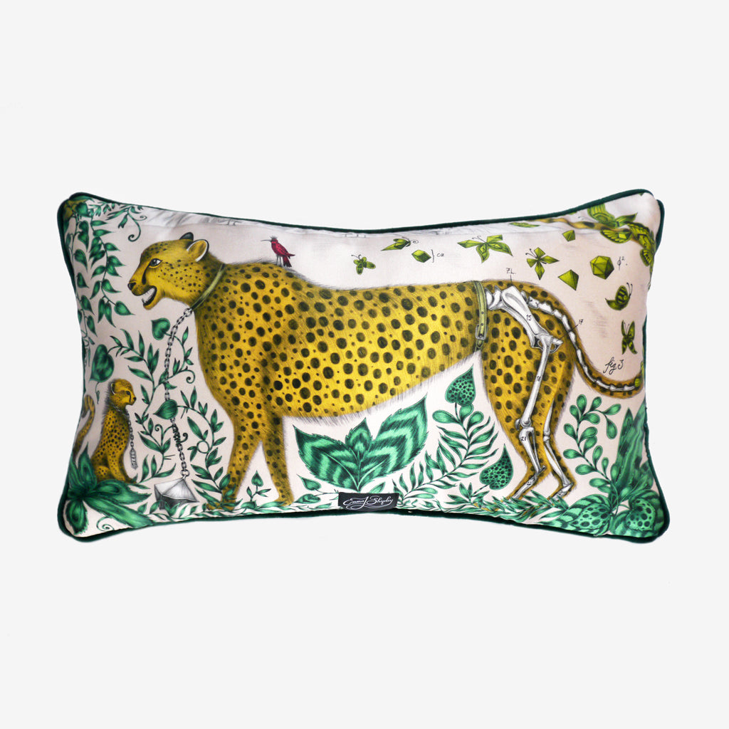 The Cheetah design upon a luxurious double sided silk cushion designed by Emma J Shipley