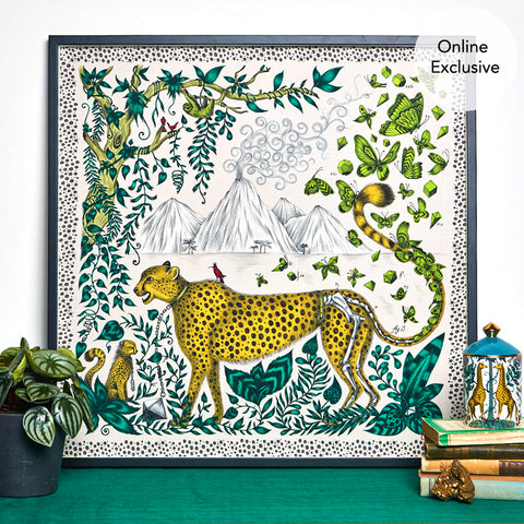 The Luxurious Cheetah design on Silk in bright greens and yellows creates the magical Cheetah design created by Emma J Shipley. This magical print can be hung in your home interior to bring some animal fantasy