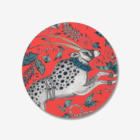 The Protea Coaster designed by Emma J Shipley in collaboration with Jamida. The red animalistic coaster is the perfect fantastical table setting piece