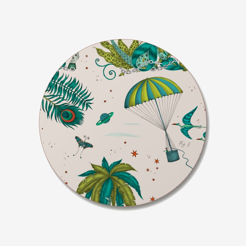 The Lost World Coaster designed by Emma J Shipley in collaboration with Jamida. The green palmy coaster is the perfect fantastical table setting piece