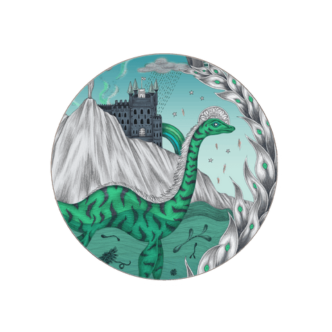 The highlandia coaster in turquoise featuring the lochness, a castle and a mountain. Designed by Emma J Shipley