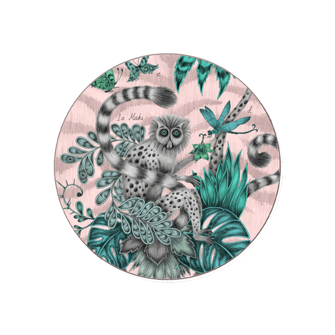 The Lemur coaster in pink featuring the Lemur monkey of Madagascar. Designed by Emma J Shipley