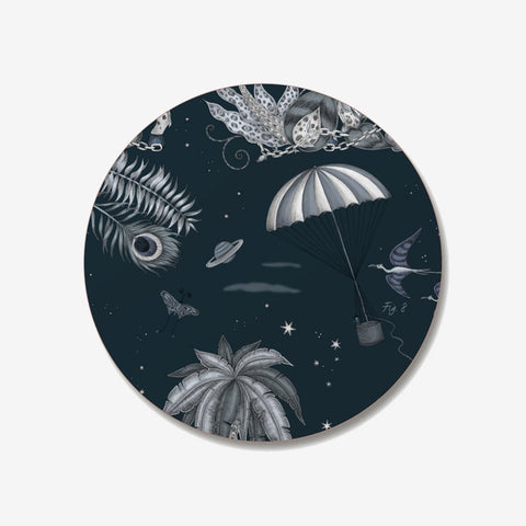 The Lost World Coaster designed by Emma J Shipley in collaboration with Jamida. The Navy Palms coaster is the perfect fantastical table setting piece