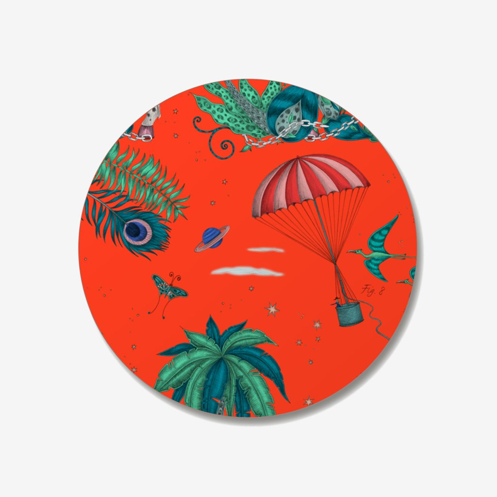 The Lost World Coaster designed by Emma J Shipley in collaboration with Jamida. The red palmy coaster is the perfect fantastical table setting piece