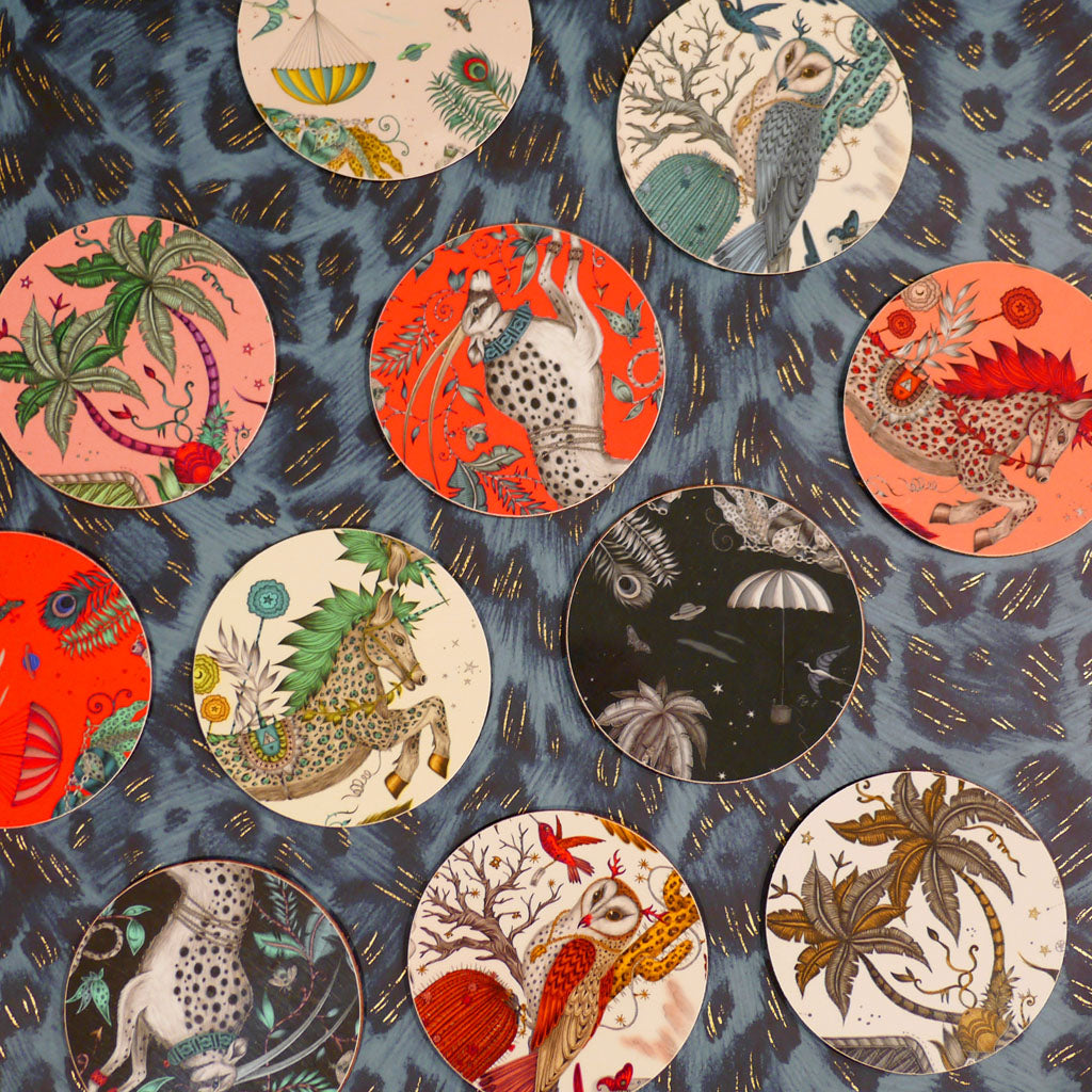 An array of Emma J Shipley coasters in mixed colours and animal nature fantasy designs