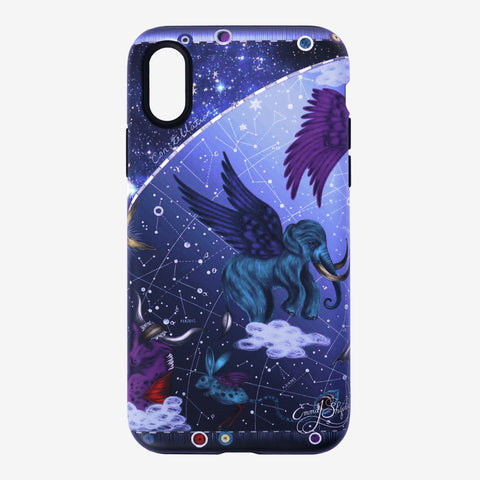 The Constellation Phone Case is part of a Limited Edition collection designed by Emma J Shipley featuring the distant galaxy, a winged woolly mammoth and other mystical creatures