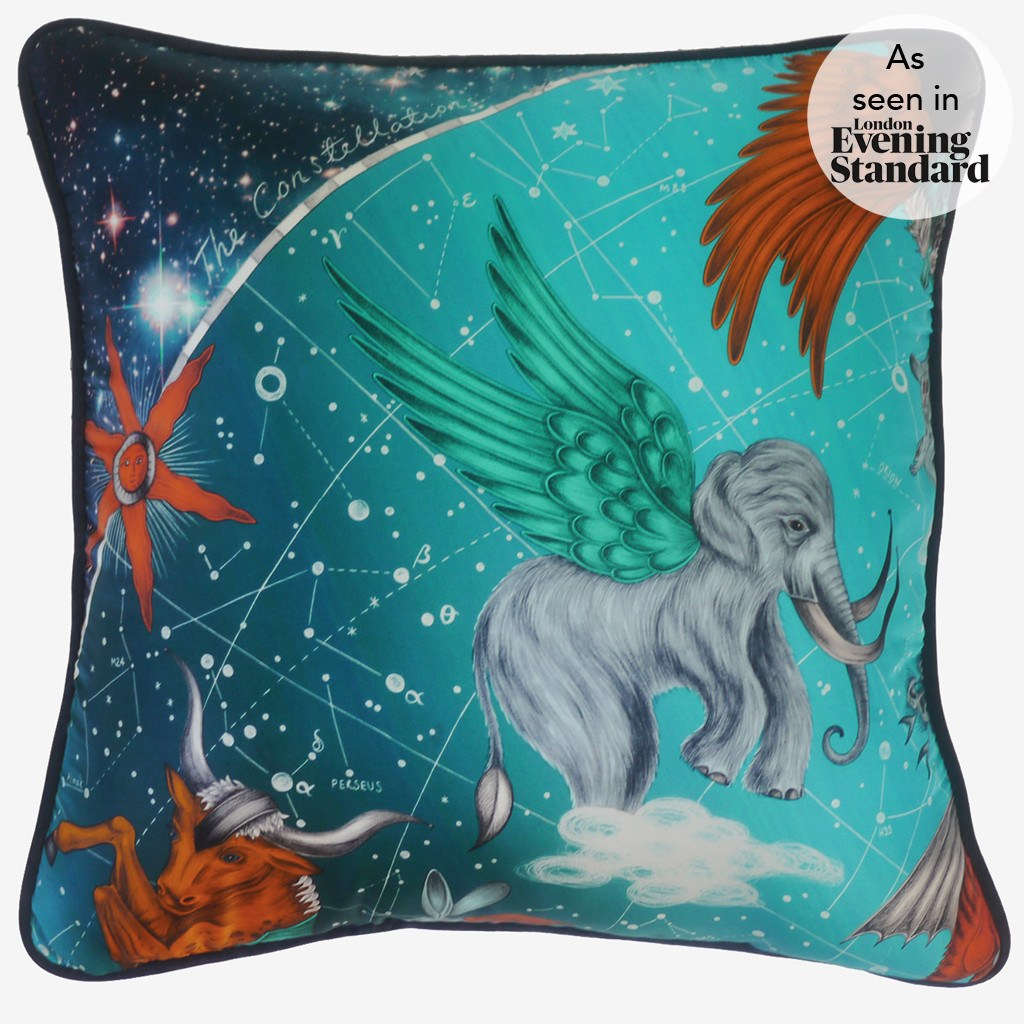 A photo of the Emma J Shipley luxurious cotton and silk blend Constellation Printed Cushion
