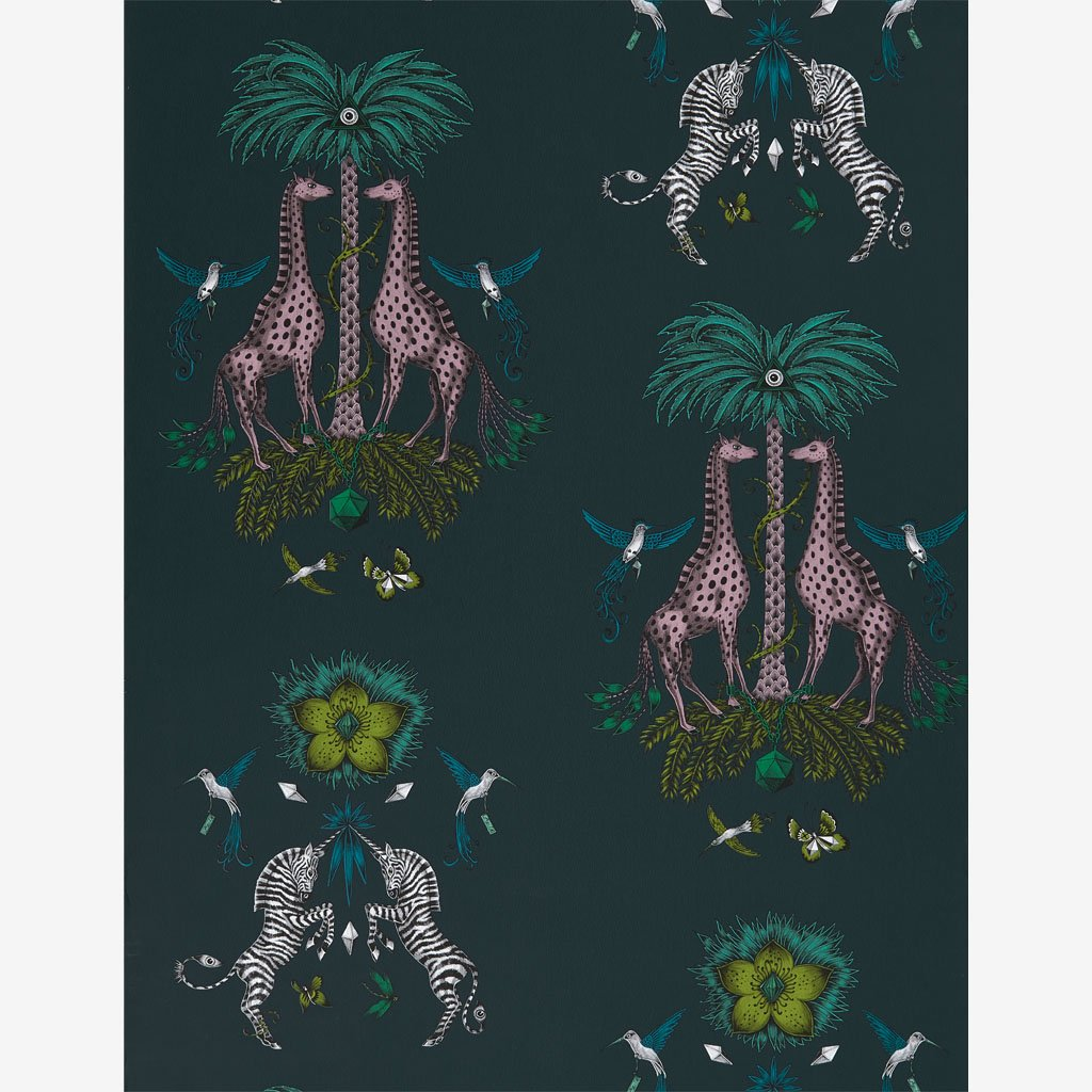 A better look at the full width of wallpaper with the Creatura Teal Print on it, hand illustrated by Emma J Shipley with Clarke & Clarke, this wallpaper will bring a deep and vibrant look to any luxurious animal inspired interior.