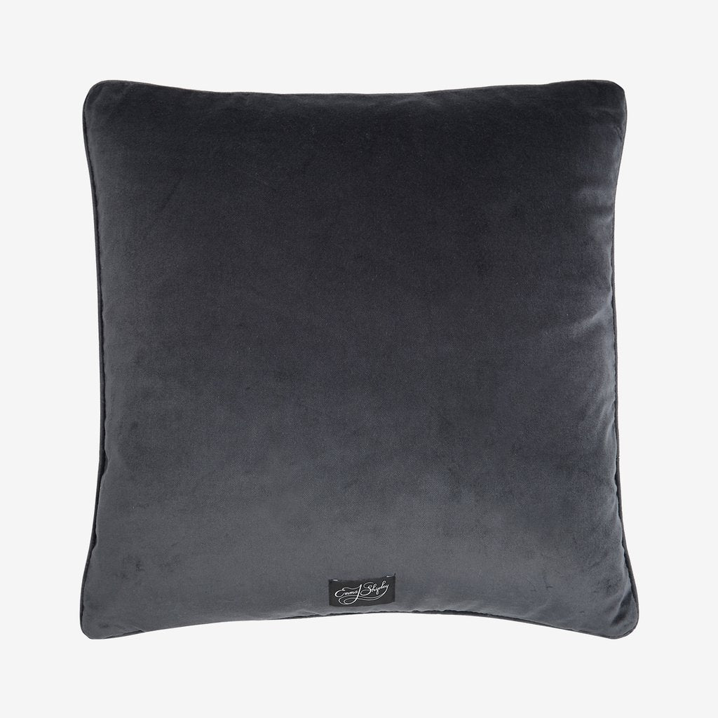 The Tigris cushion, pewter velvet backing with the Emma J Shipley label