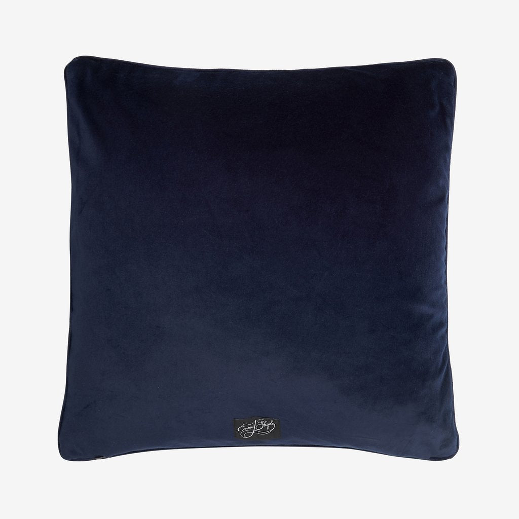 The back of the Emma J Shipley Blue Silk Protea Cushion is a luxurious deep midnight blue velvet that compliments the cushions front Blue colour
