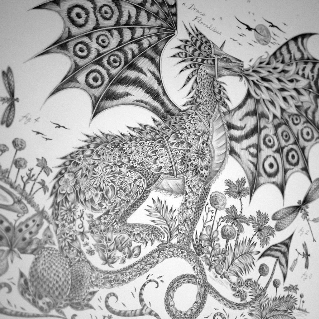The hand-drawn illustration of the Drakon design, by luxury designer and illustrator Emma J Shipley.