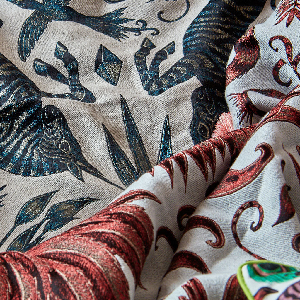 Detail of Emma J Shipley luxury throws jacquard woven in silk and wool