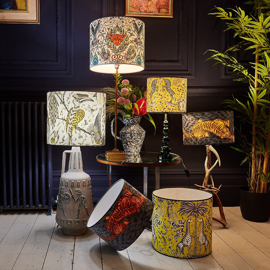 Emma J Shipley's range on lampshades featuring animals including tigers, birds, zebras and giraffes