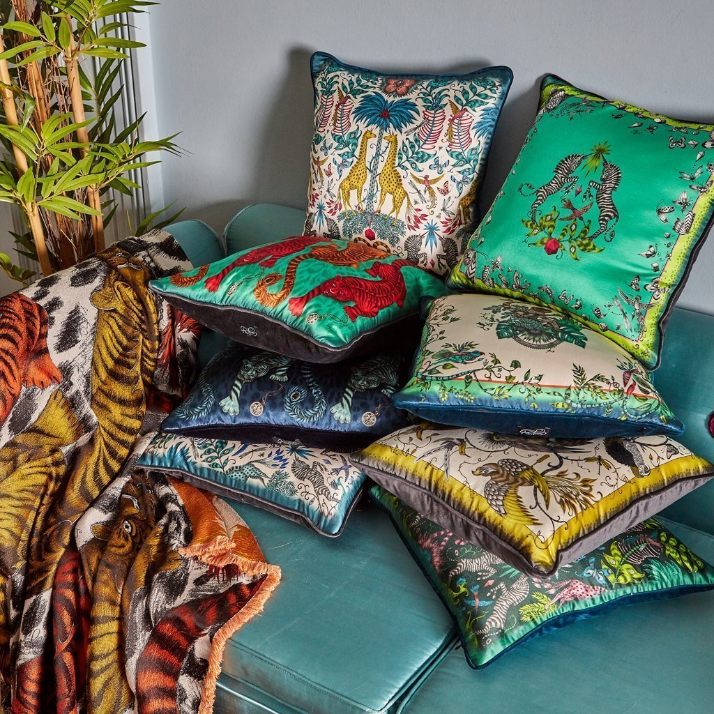 The Signature Cushion Collection hand drawn by Emma J Shipley featuring the Tigris cushion in teal
