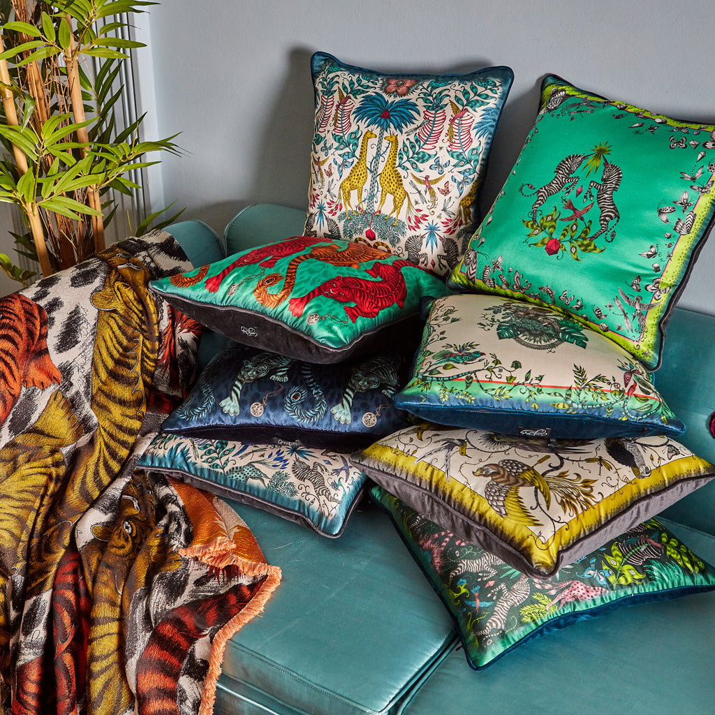 Signature Cushion Collection printed on luxurious silk with velvet backing by Emma J Shipley