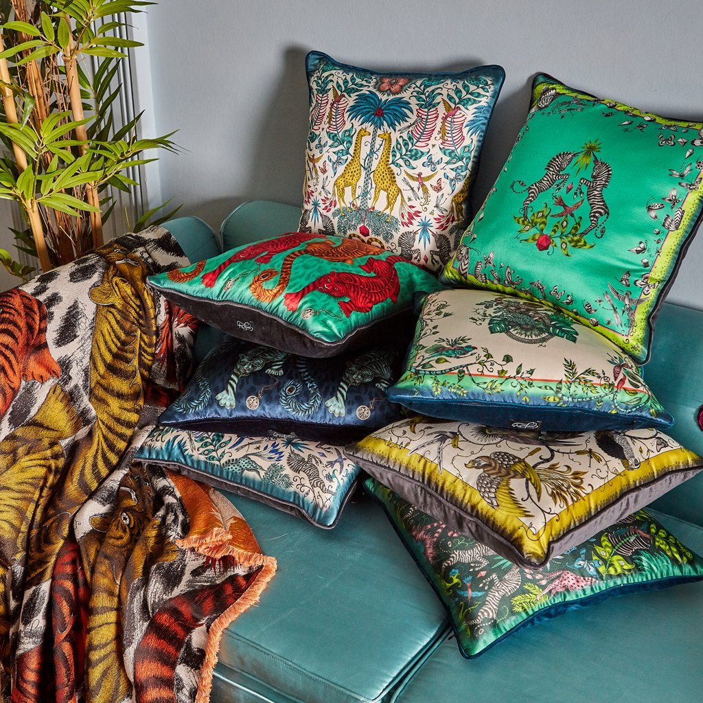 The Signature Cushion Collection hand drawn by Emma J Shipley featuring the Tigris cushion in gold yellow