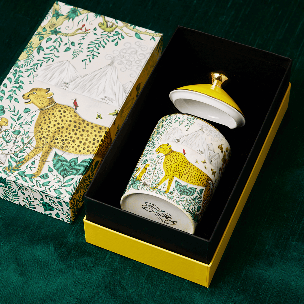 The Cheetah Candle in it's matching box showing the EJS signature on the bottom
