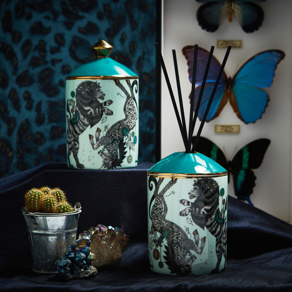 The Caspian Diffuser also comes in a magical Candle also accompanied by the scent of Vanilla & Sandalwood - it comes with a matching and coordinating bone china lid