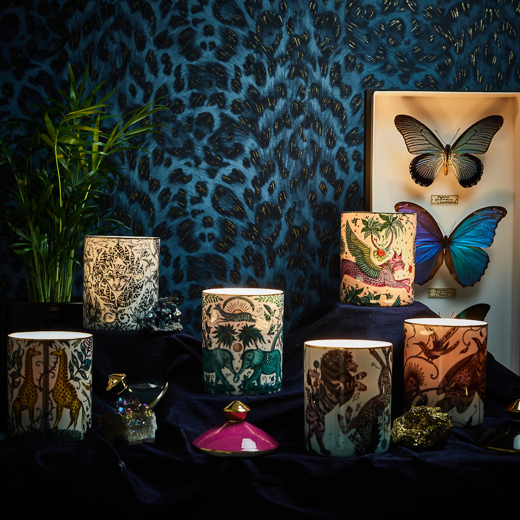 All the Emma J Shipley candles alight and glowing - each designs scent is designed by Bahoma specific to the design, each candle will bring an exotic aroma to your home and transport you to magical locations