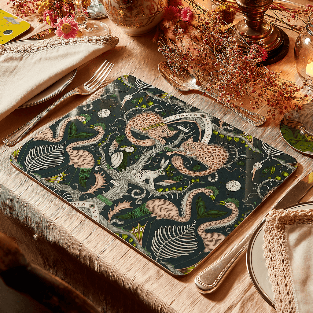 A Close look at the lifestyle shot of the Wonder World Teal Placemat done for the SS21 tableware collection designed by Emma J Shipley