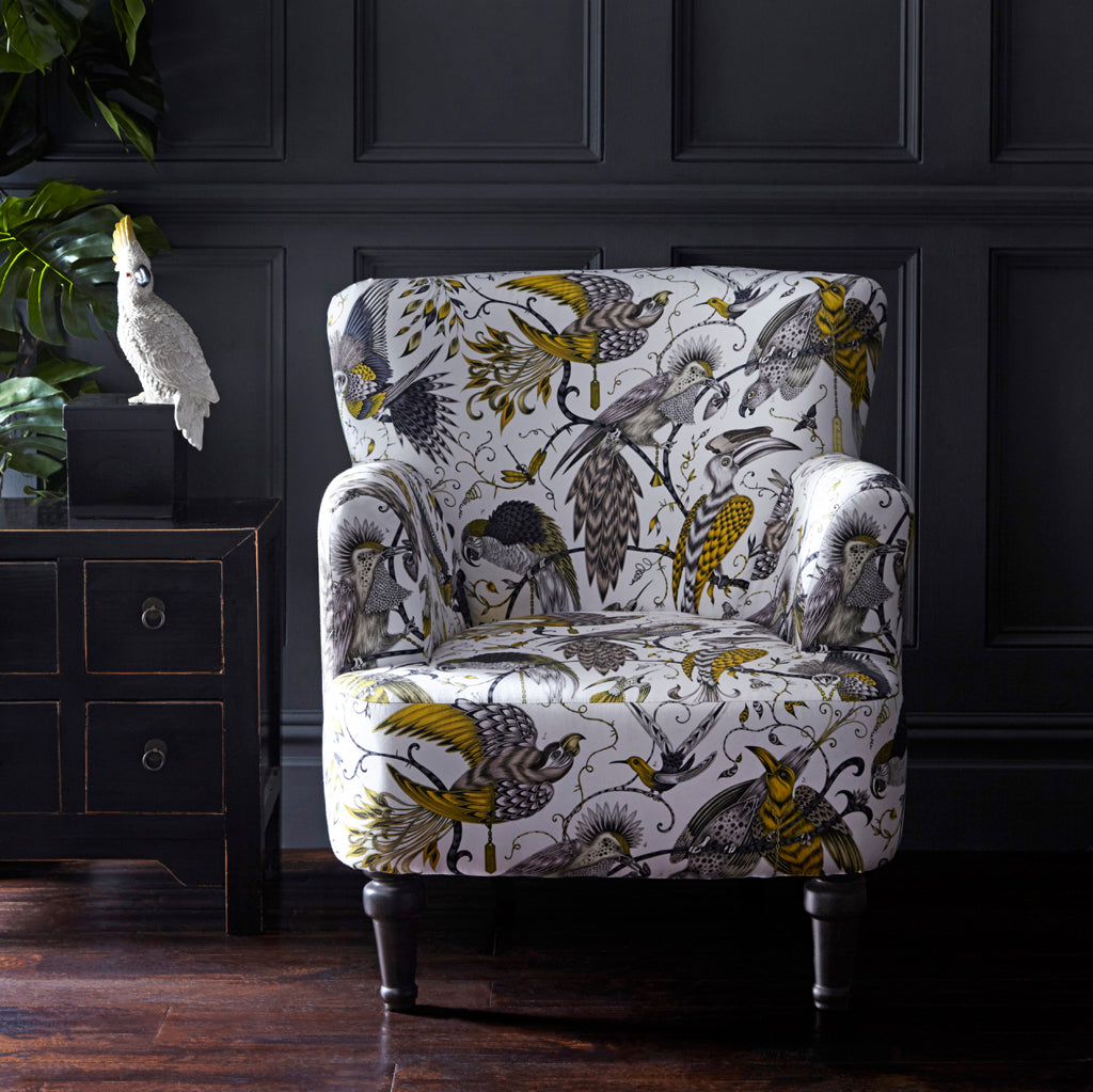 Audubon Dalston Chair designed by Emma J Shipley for Clarke & Clarke features the Audubon cotton satin from the Animalia collection upon a decorative armchair - a beautiful exotic occasional chair