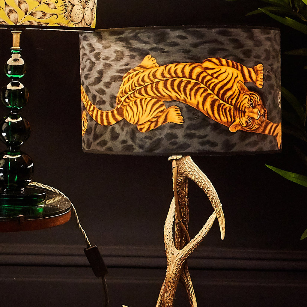 Emma J Shipley's velvet tiger lampshade in charcoal grey and yellow