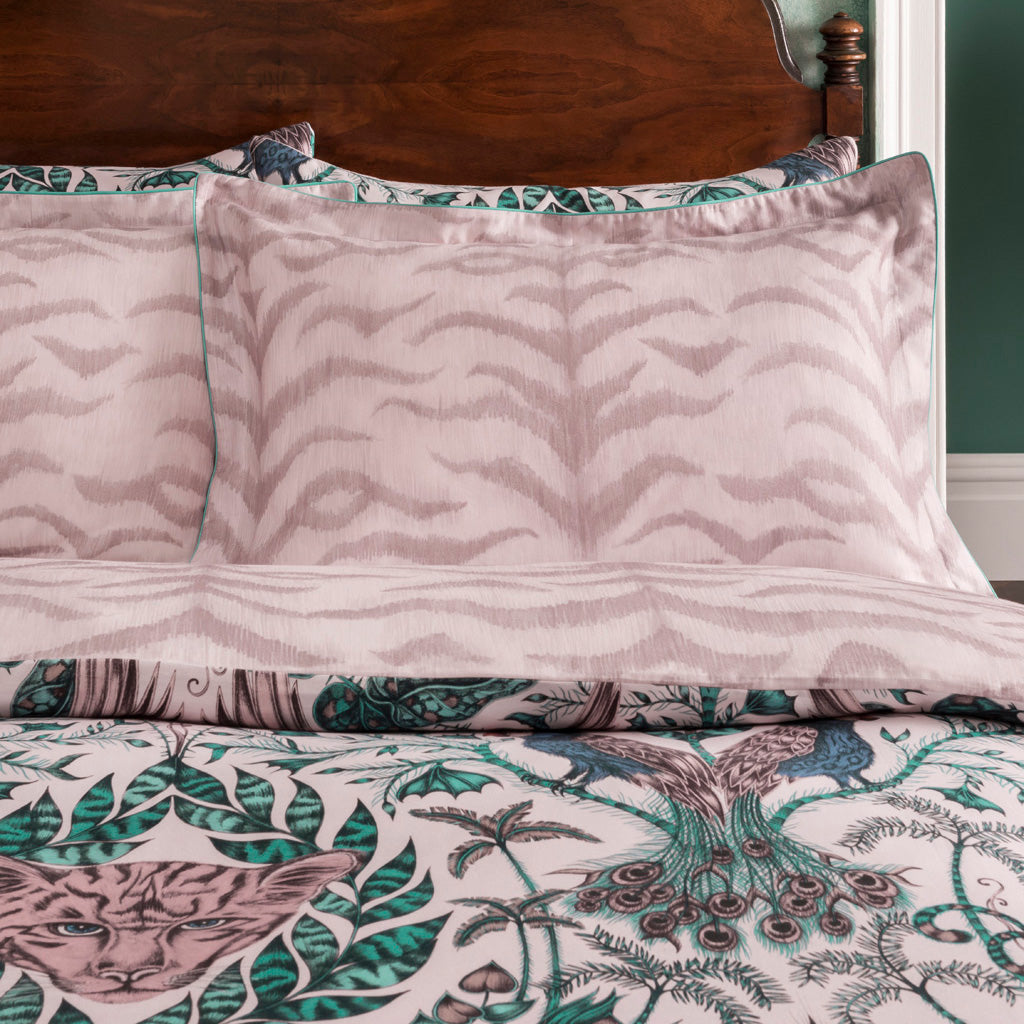 The reverse of the Amazon Oxford Pillowcase is a blush pink tiger-striped design on the back; perfect for adding a touch of maximalism to a bedroom with an otherwise neutral colour scheme.