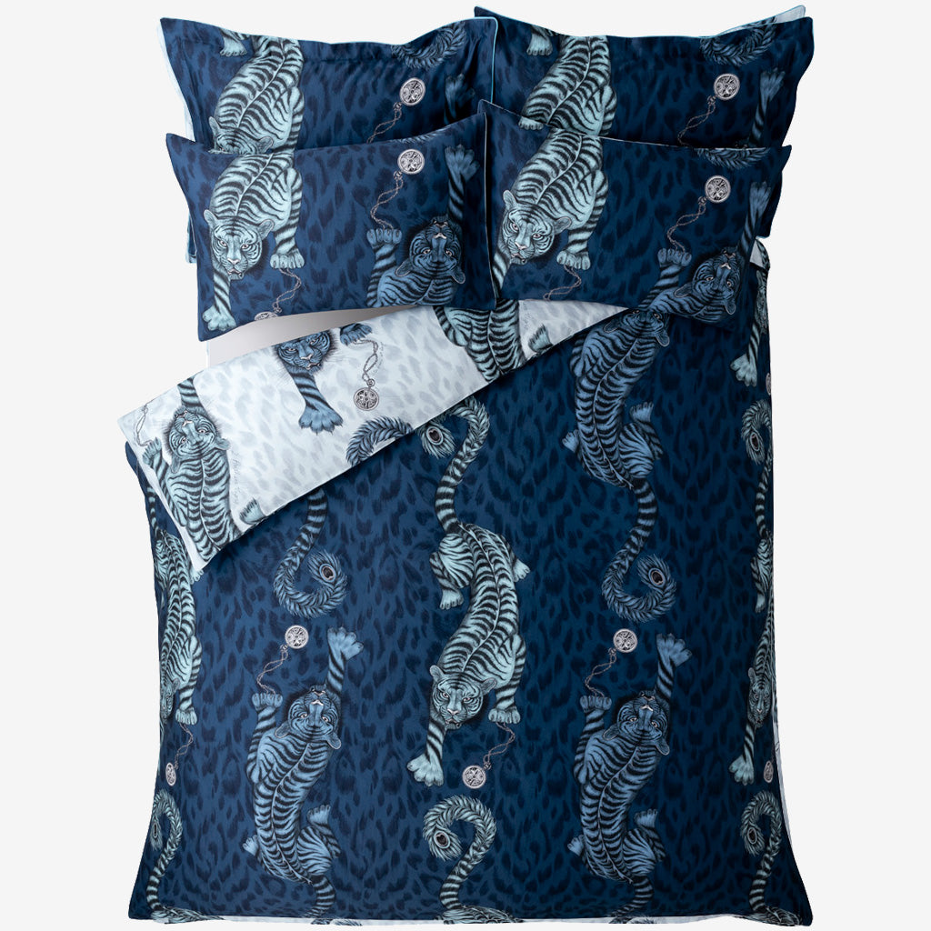 Enjoy two designs in one with the dramatic rich navy Tigris print on the front, and a softer blue design on the back; perfect for adding a striking maximalist touch to any bedroom, complementing a huge array of colour schemes