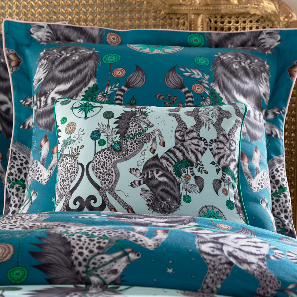 Emma J Shipley's printed Caspian Aqua Boudoir pillowcase, is an exotic creation that will add a fantastical twist to your bed in an instant. The light Aqua colour makes a great pillow to use on its own or to stack and layer along with other cushions and pillows.