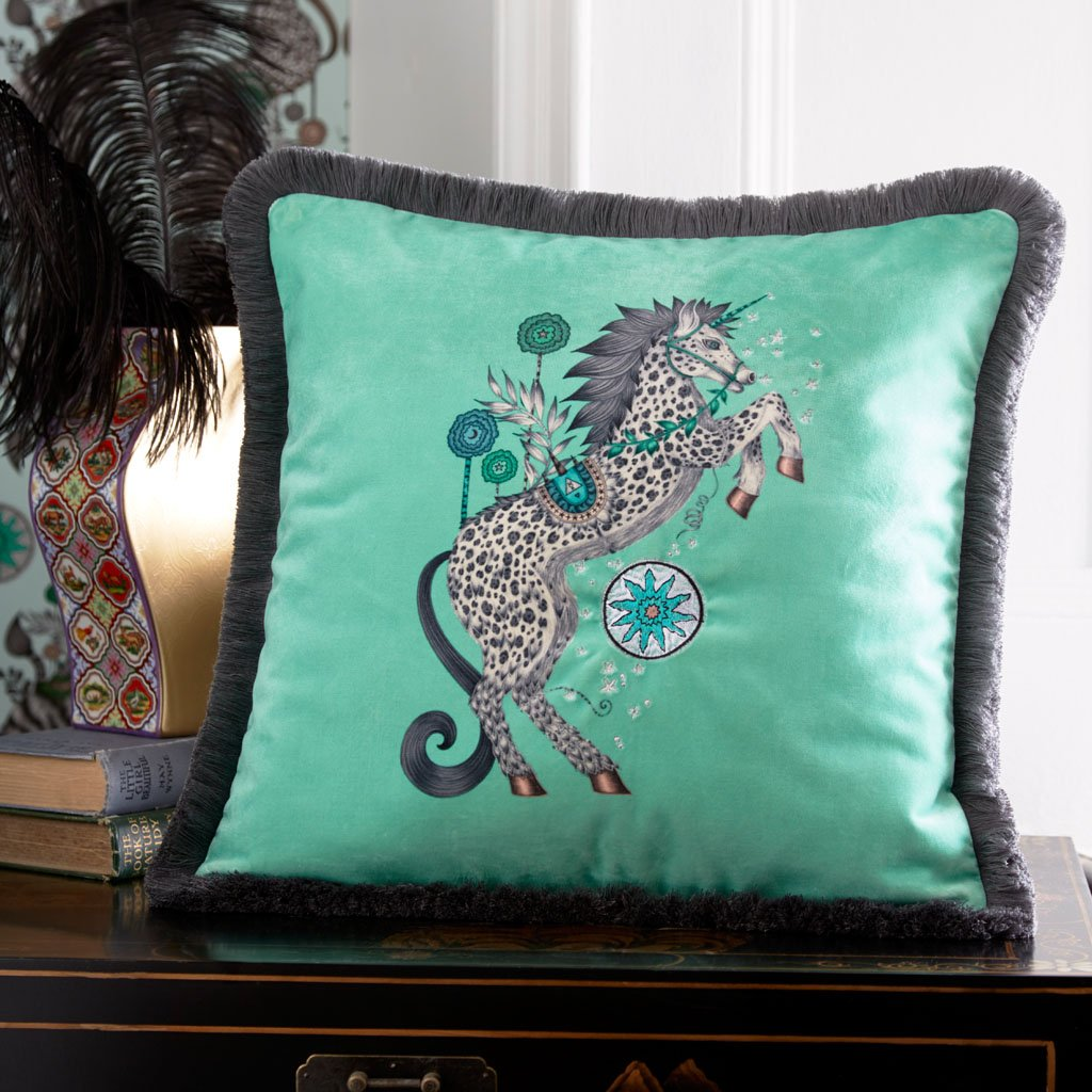 Emma J Shipley's Embroidered Caspian Aqua velvet cushion, is an exotic creation that will add a fantastical twist to your bed in an instant. The light Aqua colour makes a great cushion to use on its own or to stack and layer along with other cushions and pillows.