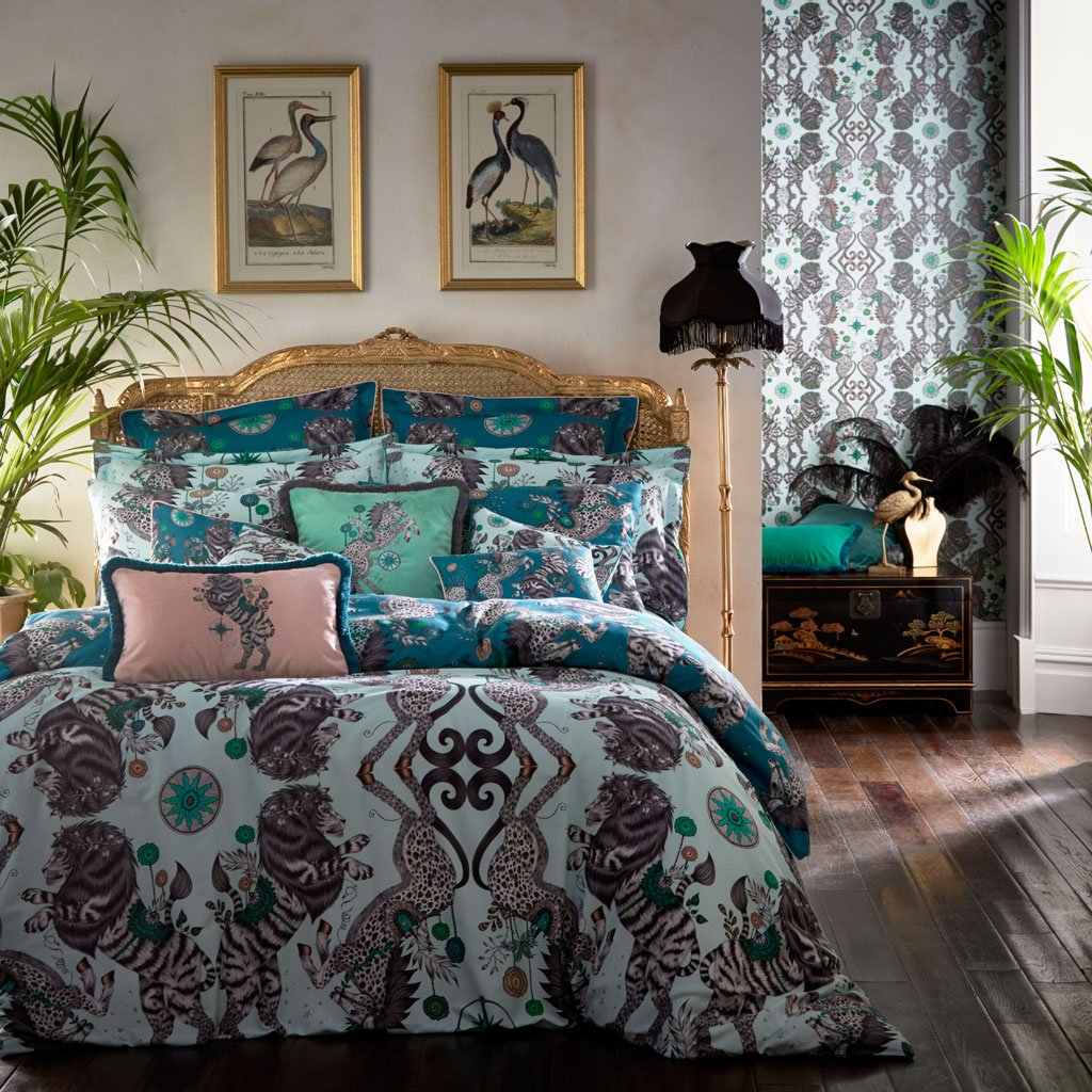 Emma J Shipley's printed Caspian duvet, is an exotic creation that will add a fantastical twist to your bed in an instant. Use on the deep Teal side for bold statement bedding, or the Aqua reverse side for a fresher take on the magical Caspian design.