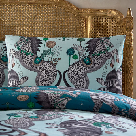 The Aqua Caspian standard pillowcase pair are inspired by JC. S. Lewis' Chronicles of Narnia and the designer Emma J Shipley's travels. The hand-drawn illustration adorns the magical bedding set that guarantees to turn your bedroom into a maximalist dream world.