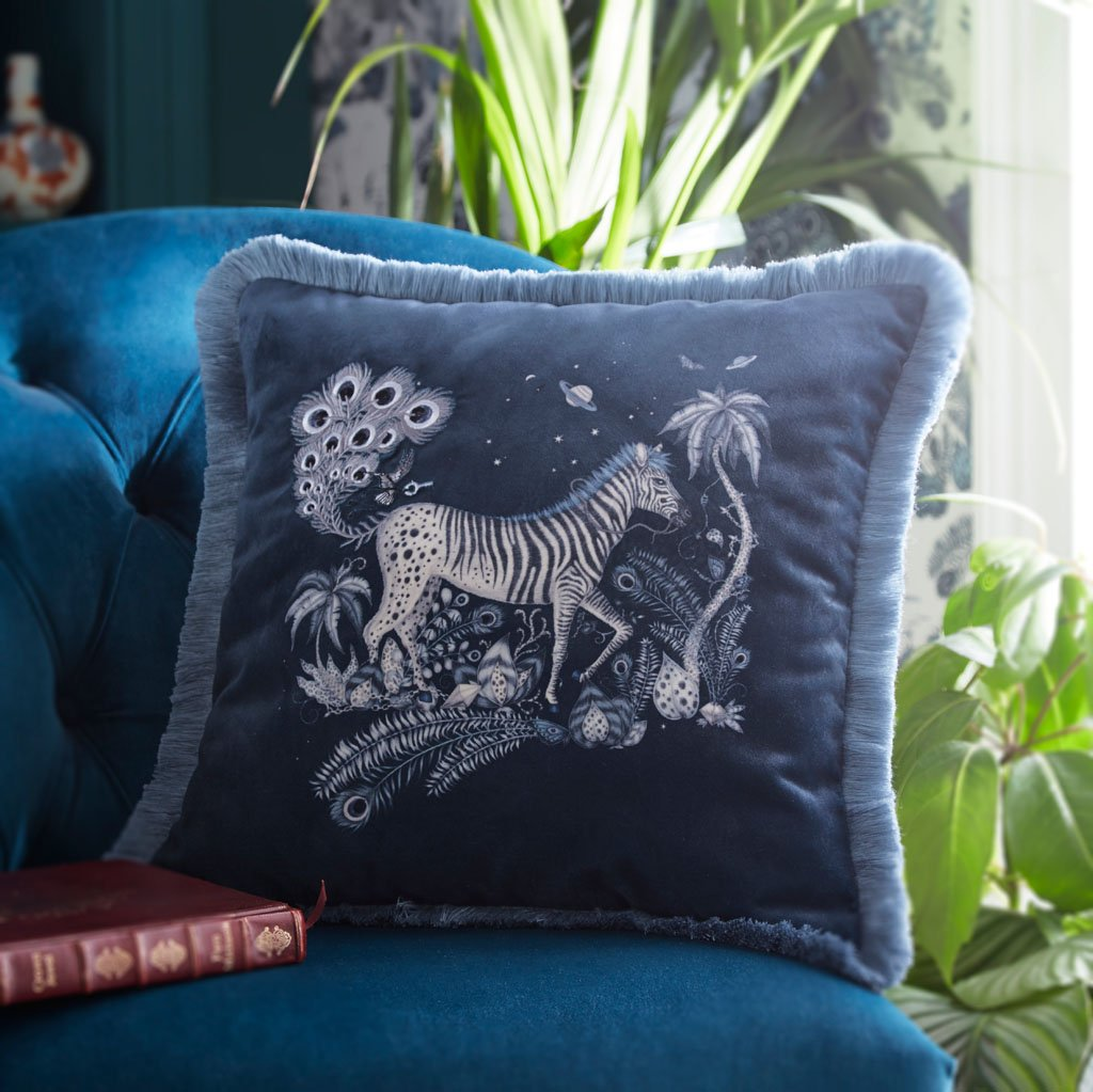 The new Velvet Lost World cushion is this gorgeous Navy colour with soft blue grey tassels and embroidered Zebras on the front, the cushion is designed by Emma J Sipley x Clarke & Clarke for the new bedding range, it can be used on it's own to add a bold statement to any furniture or pair perfectly with other pillows and cushions