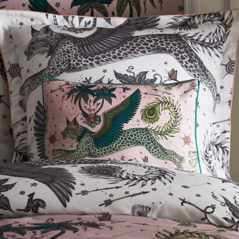 Emma J Shipley's printed Lynx Blush Boudoir pillowcase, is an exotic creation that will add a fantastical twist to your bed in an instant. The light Pink colour makes a great pillow to use on its own or to stack and layer along with other cushions and pillows.