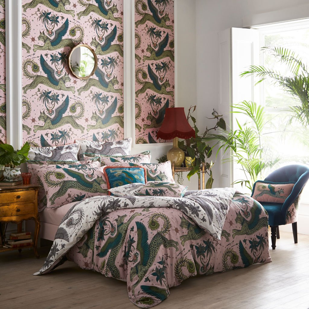 Emma J Shipley's printed Lynx duvet, is an exotic creation that will add a fantastical twist to your bed in an instant. Use on the bright Pink side for bold statement bedding, or the Nude reverse side for a fresher take on the magical Lynx design.