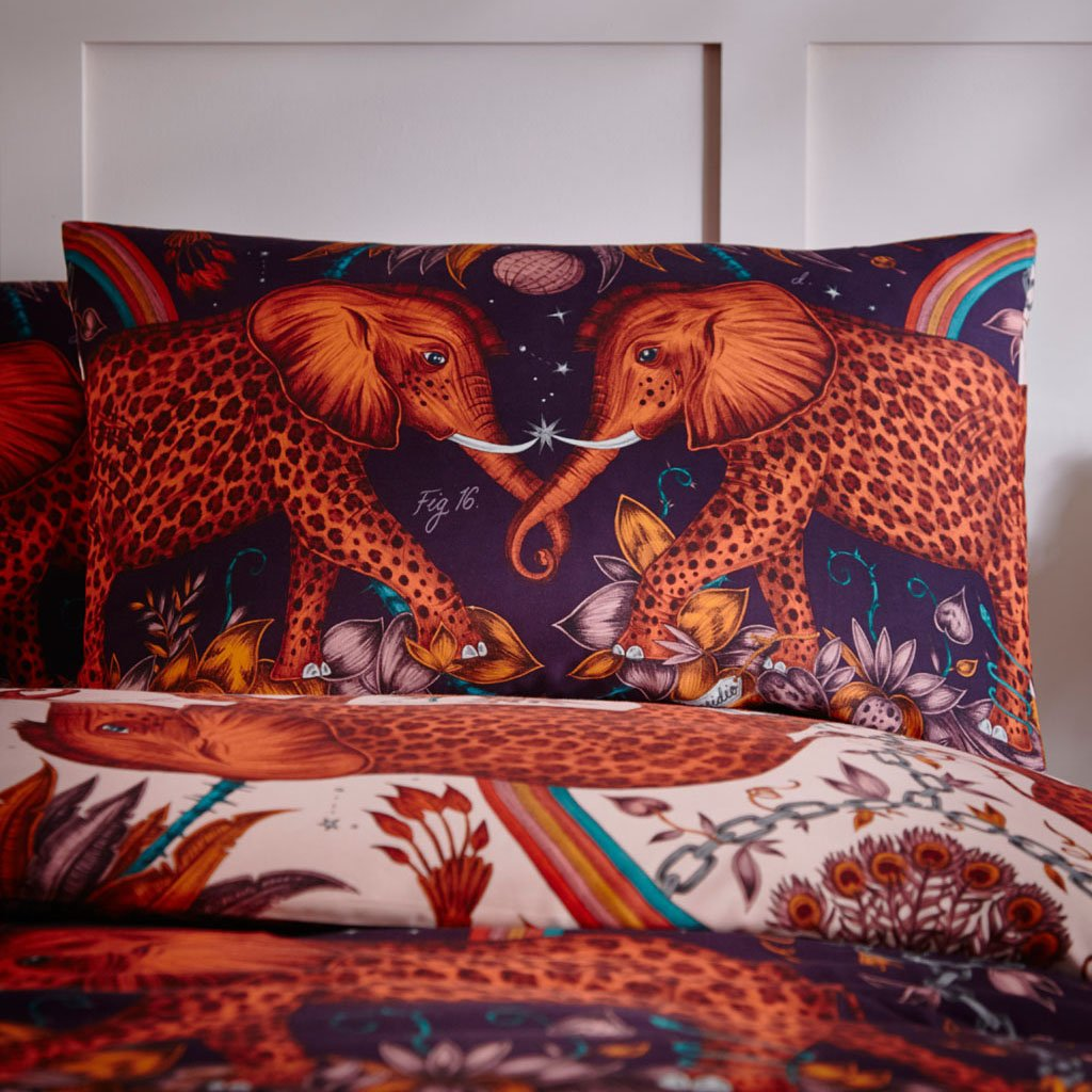 The Zambezi standard pillowcase pair are inspired by Jules Verne's adventure stories and the designer Emma J Shipley's travels to Botswana. The hand-drawn illustration adorns the magical bedding set that guarantees to turn your bedroom into a maximalist dream world