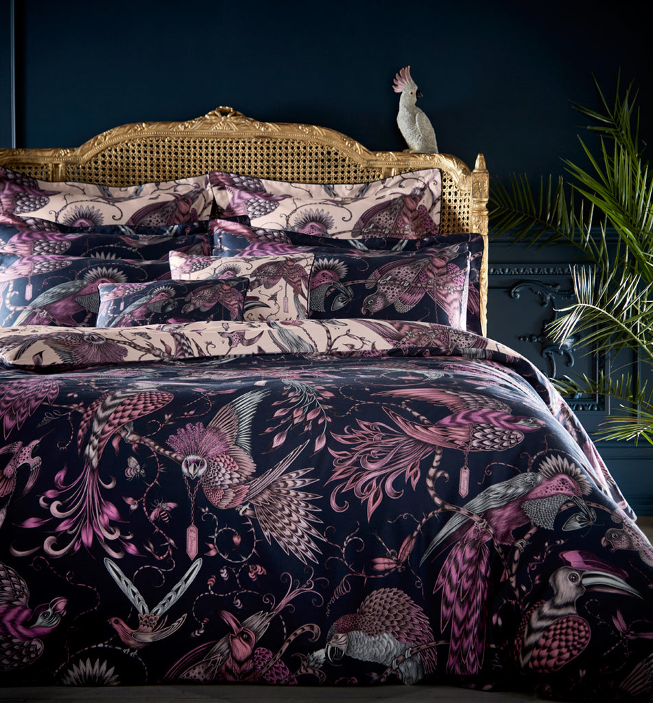 The Audubon design adorns the Audubon bedding set designed by Emma J Shipley for Clarke & Clarke