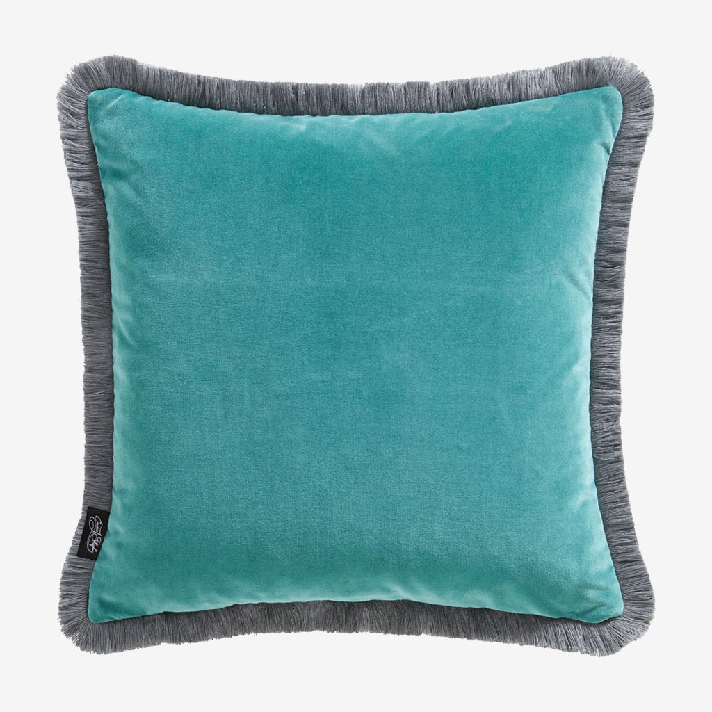 The reverse side of the Aqua Caspian Velvet Cushion, beautifully illustrated by Emma J Shipley, made in collaboration with Clarke and Clarke, this shows the deep Teal side that pairs beautifully with the front.