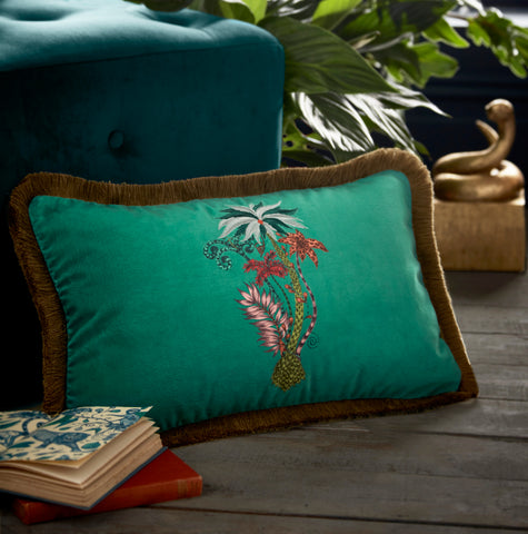 Jungle Palms Velvet Bolster Cushion