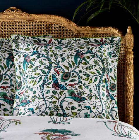 Jungle dream - the Jungle Palms square pillowcase adds a beautiful touch to your bedding. Designed by Emma J Shipley in collaboration with Clarke & Clarke