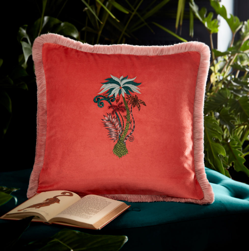 The Jungle Palms velvet cushion is a beautiful coral pillow for bedrooms, lounges or anywhere in the house to add an exotic tropical twist