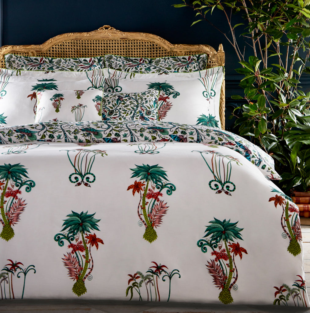 The beautiful Jungle Palms bedding set created in collaboration with Clarke & Clake